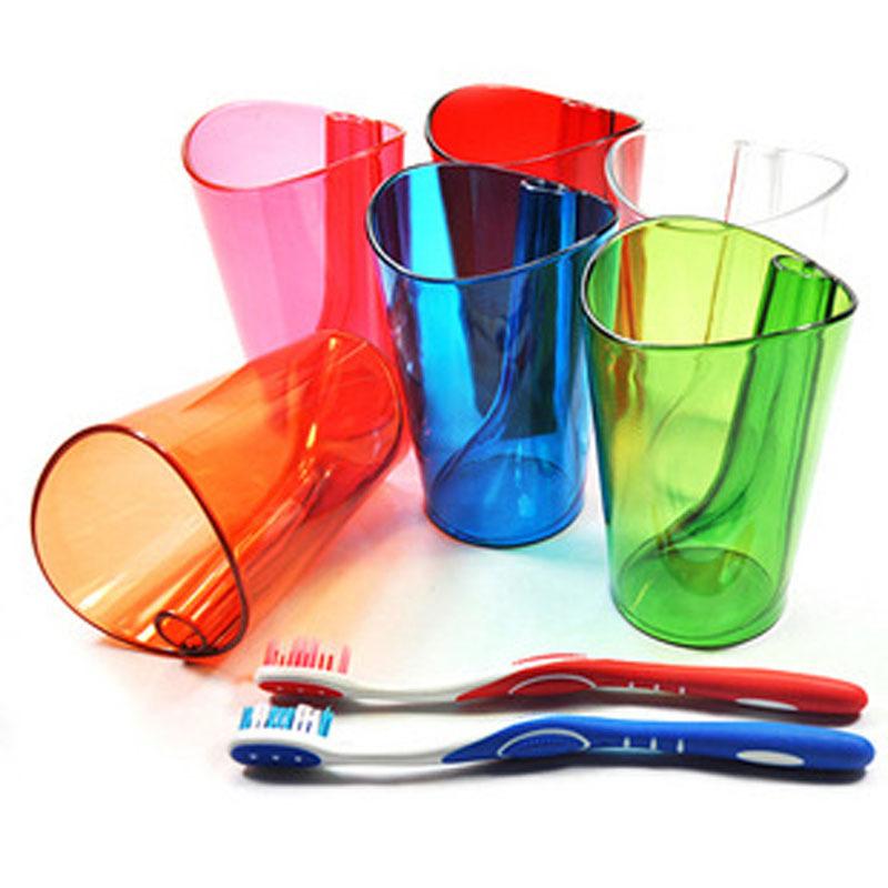 大贸商 情侣多功能防垢洗漱杯 炫彩二合一水杯漱口杯 带牙刷架
