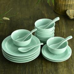 生一青瓷 10头茶花粉青餐具 家用高档中式餐具套装 米饭碗盘碟汤勺餐具套组