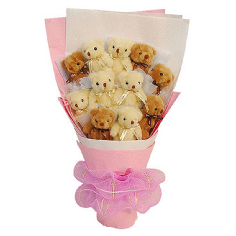 礼无忧 11只小熊花束卡通公仔花束创意鲜花 送女友浪漫礼品