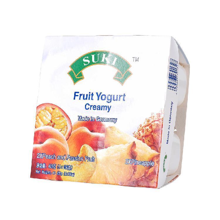 多美鲜 全脂果粒酸奶-桃果粒和西番莲汁/菠萝果粒 400g